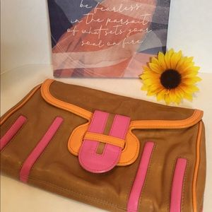 Kate Landry Leather Clutch